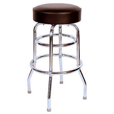 """30"""" Backless Swivel Bar Stool with Chrome Frame, Black Seat, Lot of 1"""