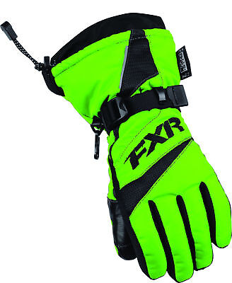 FXR Youth Electric Lime Green/Black Helix Race Snowmobile Gloves Snow Snocross