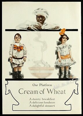 1908 CREAM OF WHEAT Cereal Yellow Ware RASTUS Kids w/Big Bows Old Vtg PRINT AD