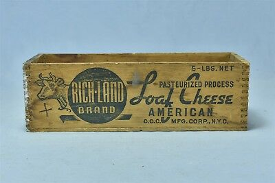 Vintage ADVERTISING RICH-LAND PROCESS CHEESE 5 LB SHIPPING BOX NEW YORK #05635
