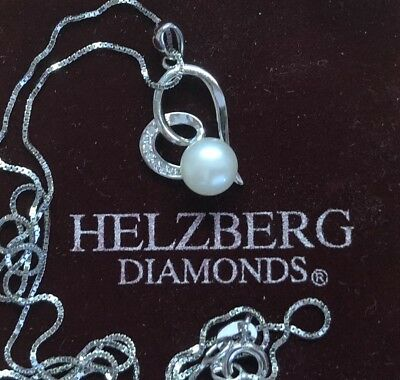 Beautiful Sterling Silver & Cultured Fresh Water Pearl Heart Pendant Necklace