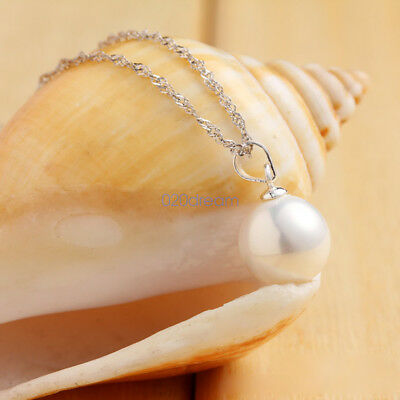 New Jewelry 925 Sterling Silver Crystal Pearl Pendant Necklace Chain Women Gift