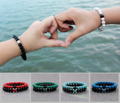 Distance Chakra Bracelet For Men Women 2Pcs/Set Natural Stone Beaded Bracelets