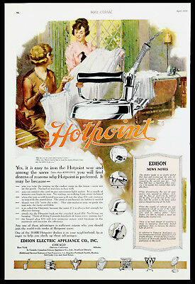 1920 HOTPOINT IRON Lady Ironing Lingerie Instructions to Unplug It Vtg AD