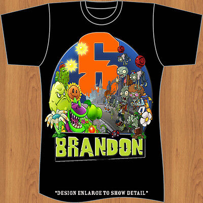 Plants vs Zombies Personalized - Birthday Black T-Shirt Party FavoR