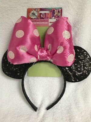 Disney Store Minnie Mouse Ears Headband Big Pink Dots Bow Sequins Glitter, NEW