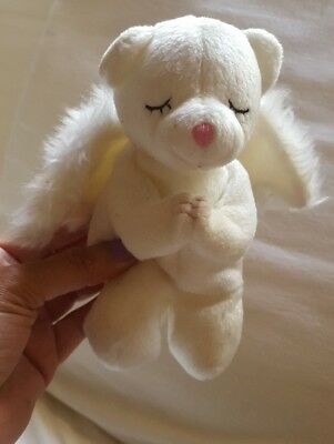 "Ty Beanie Babies Blessed the Praying Angel Bear RARE NEW 7"" tall White Wings"