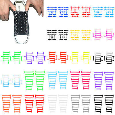 12/16pcs Easy No Tie Lazy Shoelaces Elastic Silicone Shoe Lace Kit for Kid Adult
