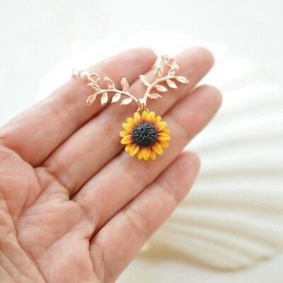 Fashion Women Sunflower Leaf Branch Necklace Gold Plated Twig Pendant Necklace