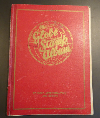 Vintage Globe Stamp Album with >200 stamps 1912 to 1935 All countries on hinges