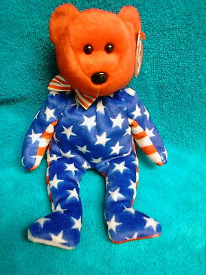 """Retired Ty Beanie Baby """" Liberty """" Red Face Patriotic Bear - Mwt"""