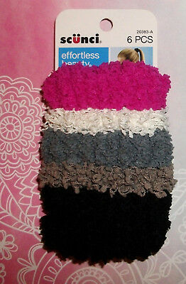 scunci Hair Band Scrunchies Nubby Twister 6 Pc Stretch NEW Carded