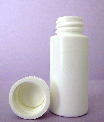 1 oz HDPE Cylinder Round Plastic Bottles w/Screw-On Caps (Lot of 50)