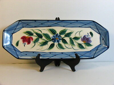 "Gail Pittman Pottery Annabella Hand Painted Bread Tray 19.5"" Ceramic Flower Blue"