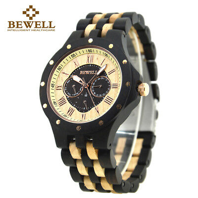 Bewell Multi Owl Dial Ebony Natural Wooden Watch Adjustable Black Men Wood Watch