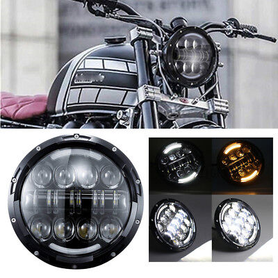 "7"" H4 LED Headlight w/ Halo Indicator DRL for Harlye Road King Electra Suzuki GS"