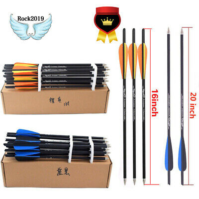 12pcs 16/20inch Carbon Shaft Arrows Spine 400 Bolts for Hunting Archery