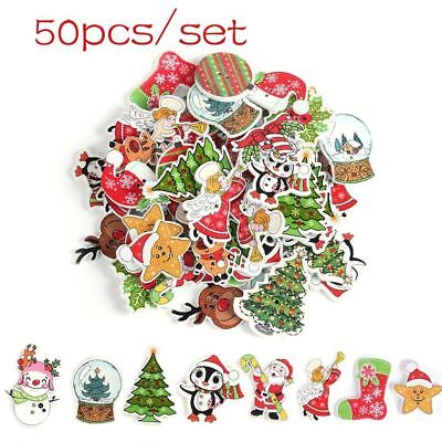 50Pcs Decor Scrapbooking 2 Holes Wooden Christmas Buttons Santa Claus Deer New