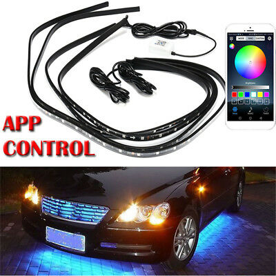 4PC Under Car Tube Strip RGB LED Underbody Neon Light Phone App Control 12V New
