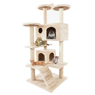 """52"""" Beige Pet Cat Tree Play House Tower Condo Bed Scratch Post Toy NEW"""