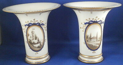 Antique Pair Nymphenburg Porcelain Pearl / King's Service Vase s Porzellan Vasen