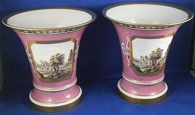 Pair of Paris / French Porcelain Scenic Vase s Porcelaine de Vieux Porzellan