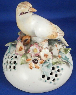 Antique 18thC Derby Porcelain Frill Vase Lid w/ Bird Porzellan English England