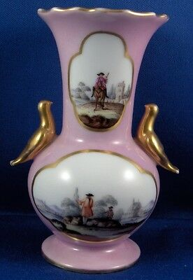 Antique French Paris Porcelain Pink Ground Watteau Scenic Vase Porzellan Scene