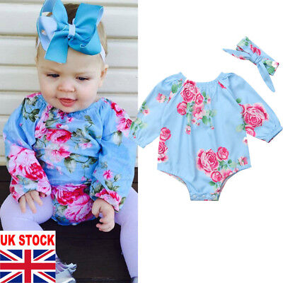 UK Stock Newborn Baby Girls Clothes Infant Romper Playsuit Outfit Headband Set
