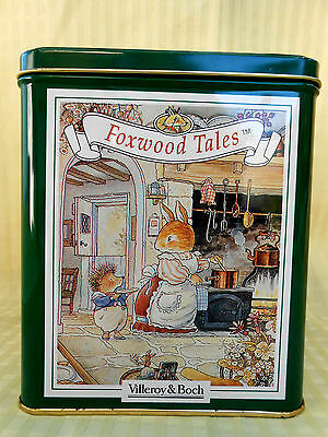 Pretty Foxwood Tales Empty Tin - Four different Scenes  13.5cm wide 16cm high