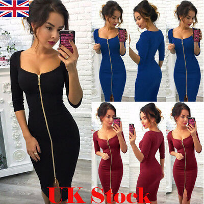 UK Sexy Womens Front Zip Cocktail Ladies Deep V Neck Party Bodycon Midi Dresses