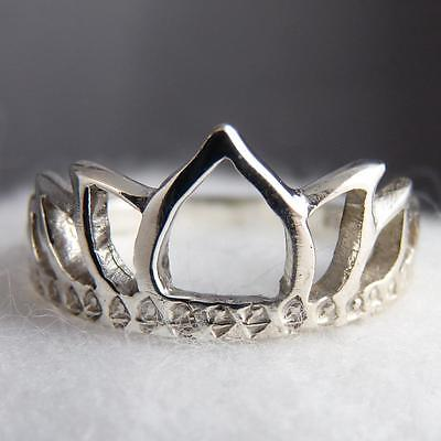 LOTUS CROWN Size US 7.75 SilverSari JALI Finger/Thumb Ring Solid 925 Stg Silver