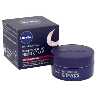 NIVEA Face Night Cream for Dry and Sensitive Skin, 50 ml, Pack of 3