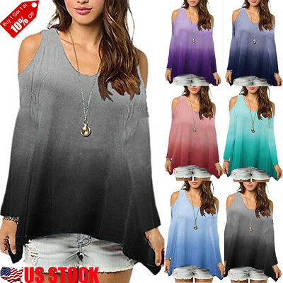 Women Cut Cold Shoulder Tunic Top Casual Loose Oversized Swing Blouse T Shirt US