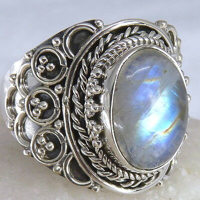 FILIGREE LACE Vintage Silversari Ring Size US 9.75 Solid 925 Silver + MOONSTONE