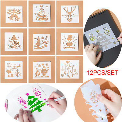 12x Christmas Layering Stencils For Walls Painting Embossing Template Moda