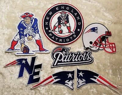 New England Patriots Set of 7 Iron On Embroidered Patches~FREE Ship