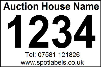 500 Personalised Auction Lot Number, Sticky,  Easy Peel Labels, No Residue