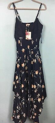 Joe Browns Navy Floral Strappy Elasticated Handkerchief Hem Dress Size 14 - B40