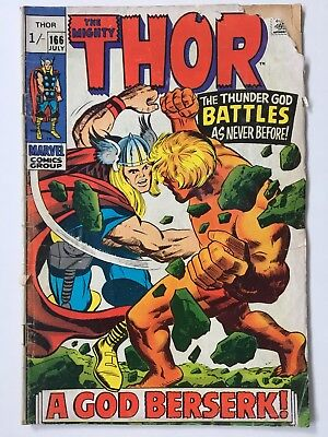 Marvel Mighty Thor Comic No 166 July 1969