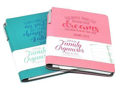 2019 Diary A5 Or A6 Ladies Family Organiser Diary with Pen , Quality Soft Cover
