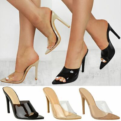 Womens Ladies High Heel Party Barely There Sandals Glass Perspex Pointed Toe New