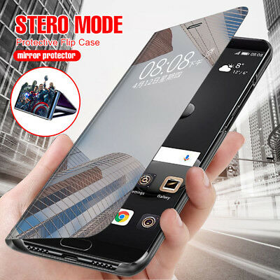 For Huawei Nova 3i 360° Shockproof Flip Smart Case Clear View Mirror Stand Cover