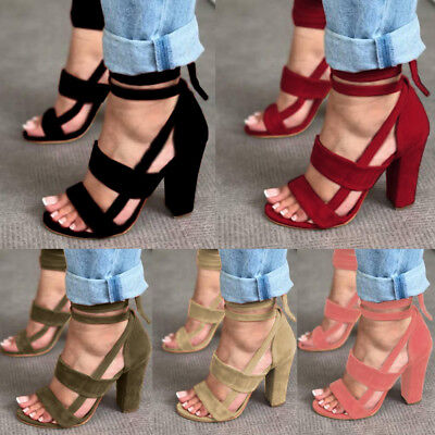 US Womens Ladies Lace Up Open Toe Sandals High Block Heel Ankle Strap Shoes Size