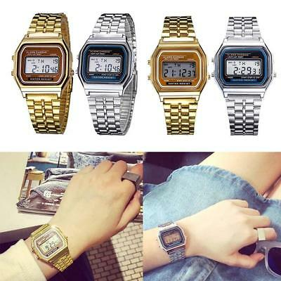 Elegant Mens Womens Retro Stainless Steel LCD Digital Sports Stopwatch Watch CFF