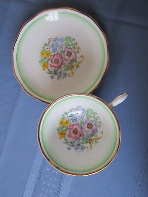 Royal Albert  Cup And Saucer Older Rare Shape Green Accents Floral 1935 To 1945