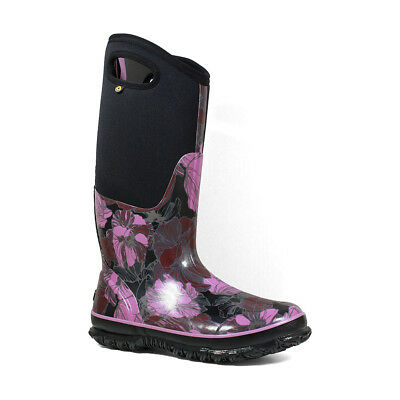LADIES BOGS WATERCOLOUR TALL FLORAL PLUM INSULATED WELLINGTON BOOTS 71787545
