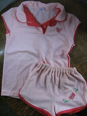 Vintage Girl's Clothes Outfit Two Pc Peach Play Suit Granimal Size 6X 1980's
