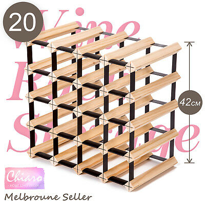 20 Bottle Timber Wine Rack Wooden Storage System Cellar Organiser Stand Display