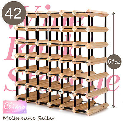 42 Bottle Timber Wine Rack Wooden Storage System Cellar Organiser Stand Display